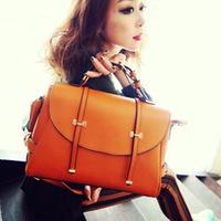 New arrival vintage cover handbags solid orange women bag