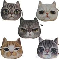 New Cute Cat Face Zipper Case Coin Purse Wallet Makeup Buggy Bag Pouch  01HU