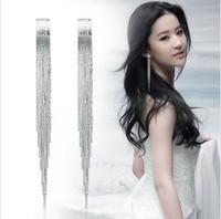Fashion tassel long earrings drop earring no screw earrings pierced the trend of female long earring Free Shipping