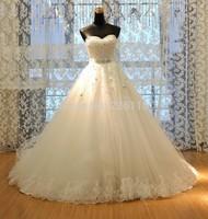 Romantic k20 Chapel Train Lace Designer Real Ball Gown Puffy 2014 Wedding Dresses Patterns Bridal Vestido De Novia bridalk