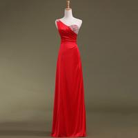 2014 No Vestido Longo Time-limited Direct Selling Halter Noble One Shoulder Strap Evening Dress Beaded Slim Long Designbridalk