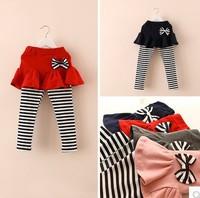 Popular Stripes Pattern cotton girl's all match Long Pantskirt,2014 early autumn baby girl's elastic leggings,4 color+5 size