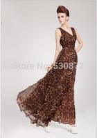 Loveis! 2014 New Women's  V-Neck Chiffon Evening Dress Leopard Print High Waist  Dress Bohemian Beach Dress For women S-M-L-XL