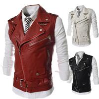 2014 Winter Autumn Men Large Lapel Zipper Up Men's PU Leather Vest Casual Motor Wear WaistCoat Sleeveless Jacket