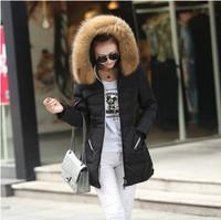 2014 fur outerwear women cotton-padded jacket slim waist medium-long wadded jacket winter women outerwear thick coat hood parka
