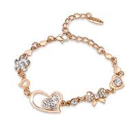 New Designer High Quality Gold Chain Bracelets & Bangles For Women 2014Fashion Brand Crystal Heart Bracelet Charm Bowknot Bangle