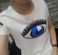Print single eye beading brand fashion tee shirt blouse 2014 new women seasons o neck short sleeve cool top in pink/white/black