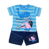 wholesale 2014 New brand summer boys sets kids clothing peppa pig boys clothing set kids sets shorts sleeve tshirts+jeans shorts