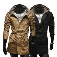 2014 Winter Autumn Top Brand Hooded Men Leopard Stick Cotton Cloth Long Man Jacket Cardigan Jackets Men's Slim Coat AX592 M-2XL