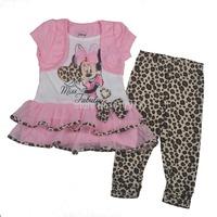wholesale 2014 summer kids clothing minnie mouse baby girls clothing sets brand girls short sleeve tutu dress+leopard leggings