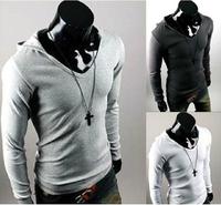 2014 Men's Hooded T-Shirts Men's Long Sleeve Casual Slim Fit Stylish Shirts Color:4 Colors Plus Size:M-XXL