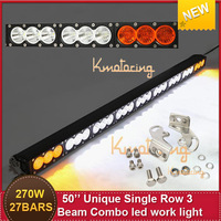 Free ship Single  Row Cree Light 270W 50'' 27*10leds 28000lm Offroad Driving LED light lamp 3 Unique Combo Beam