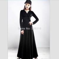 Large size women's long sleeve V-neck long section of a large swing mopping gold velvet dress Free Ship Women Clothing