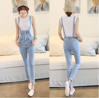 Wholesale Free shopping new 2014 Summer Women Fashion Trendy Personalized Bib hole denim rompers womens jumpsuit