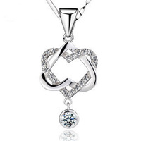 SILV 100% 925 Sterling Silver Jewelry Double Heart Necklaces & Pendants Silver Pendants Girl Friend Gift FREE SHIPPING