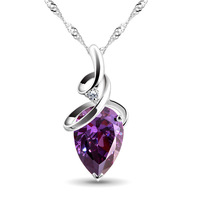 100% 925 sterling silver necklaces pendants feelingly heart silver necklace for women top quality!! FREE SHIPPING