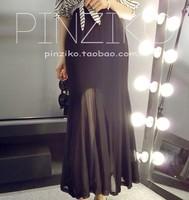New 2014 Summer Korean Fashion Chiffon Trumpet  Skirts womens skirt High Waist Mesh Sexy Long Skirts Free Shipping 5312