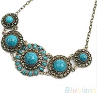 Women Lady bohemian boho Blue Turquoise look Stone Necklace Pendant  statement necklace 03G1