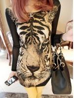 New 2014 Women Summer Dress Euro Fashion Tiger Head Printed  Full Sleeve O-neck Mesh Casual Sexy Dress Free Shipping 843