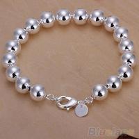 Women's Silver Plated 8mm Ball Bangle Bracelet  03C7