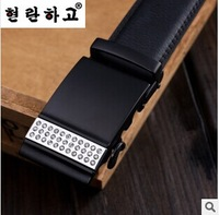2014 European Man's Fashion Luxury Crystal Black Smooth Alloy Buckle Leather Belts Male Noble Business Black Real Leather Belts