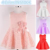 Sale New 2014 girl dress,lace, bow princess dress, sleeveless, summer, fashion, elegant dress, 4 colors Free Shipping