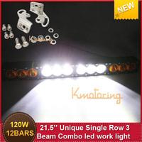 Free ship Single  Row Cree Light 120W 21.5'' 12*10led12000lm Offroad Driving  work light lamp 3 Unique Combo BeamTrucks UTV