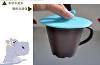 magic hippopotamus dustproof silicone cup lid keep warm glass cup cover as coffee cup accessories for table desk decoration