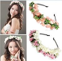Hair accessories Pink/White Flower Boho Floral Garland Festival Wedding Bridal Hairband Flower Garland Floral Bridal Headband