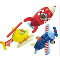 Hot sale in France,3 pcs in one set,magnetic wooden plane rocket helicopeter assemble