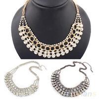 Women's Multilayer Metal Crystal Statement Necklace Bib Collar Chain Pendant  03HD