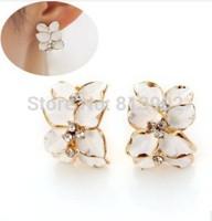 South Korean style earrings Delicate gardenia flowers The leaves set auger Han edition of earrings 4pcs/lot
