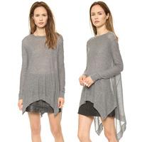 Free shipping!2014 new arrived autumn fashion designer asymmetrical knitting  wool sweater loose cardigan grey