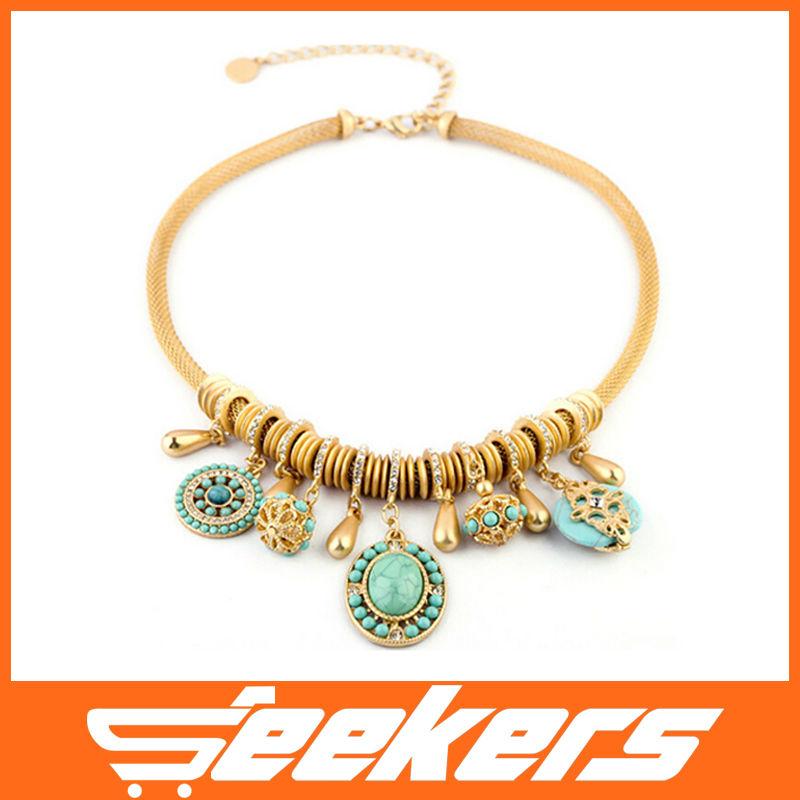 New hot l'arrivée. vintage. déclaration femelle, colliers accessoires collier style bohème turquoise, mode populaire livraison gratuite