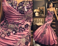 New Style Sexy Sweetheart Prom Dresses Beading Mermaid Ruffles Pink Satin Purple Prom Dress Sequin Pleat Beads Embroidered Sexy