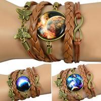 Women Retro Butterfly Weave Bracelet Faux Leather DIY Galaxy Pattern Wristband  043I