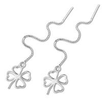 100% Sterling Silver Jewelry Four-Leaf Clover Silver Ear Wire Earrings Silver Drop Earrings Top Quality!!