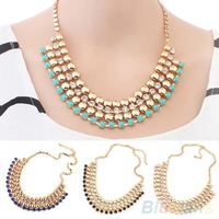 women necklace Multilayer Crystal Inlayed Chain Choker collar Statement  necklace  2014 03GJ
