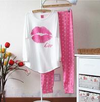 [Alice] free shipping 2014 Summer pink 100% cotton long sleeve length pants sleepwear red lips lounge set pajamas , 9 models