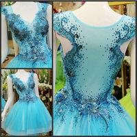 V-neck A-line Knee-length Short Embroidery Crystal Flower Vestido Bridesmaid Prom Graduation Formal Party Dress(XNE-ED121)