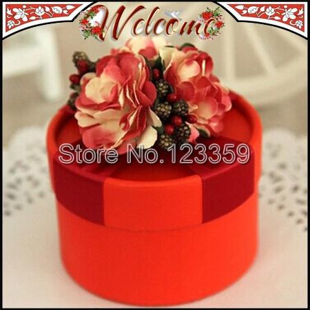 NEW European Style Cylindrical Wedding box Candy Box Flower Wedding Favors Holder Wedding decoration Gift box 7*5cm Red & Beige(China (Mainland))