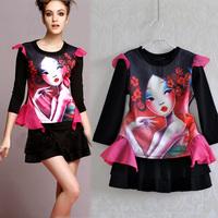 2014 Europe  America explosion models spring summer fashion  retro print two-piece women skirt suit ka078