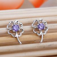 100% 925 Sterling Silver Jewelry Amethyst Earrings Silver Four-Leaf Clover Earrings Stud Earrings Free Shipping