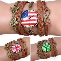 Hot Fashion Female Girl Women Vintage Butterfly Decoration Bracelet Faux Leather Weave Bangle Wristband  042V