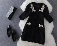 2014 early autumn new women in Europe and America stitching lace three-dimensional flowers Mesh 7 points sleeve jacket