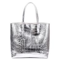 2014 Women's handbags brief leather shoulder bag silver crocodile pattern handbag woman fashion totes shopping have two bags