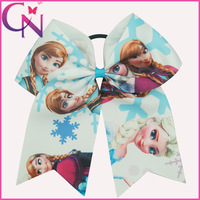 Free Shipping 12 Pcs/lot Baby Frozen Style Cheer Bow,Ribbon Dancing Bow With Elastic Band,Girls Cheerleading Frozen Bow