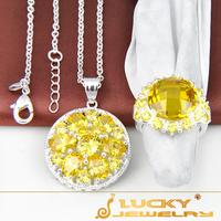 new 2014 Best Christmas Gift  Perfect Set Romantic Luxury Yellow Cz Ring & Pendant F109 Free Chain