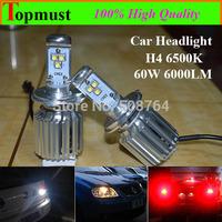Freeshipping 60w 6000lm H4(9003/HB2) Car Cree LED H4 Headlight Kit Bulbs Lamp H/L Car LED Headlight Kit LED DRL Fog Light