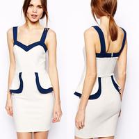 Dropshipping Cotton Blend Women Slims Peplum Hips Patchwork Spaghetti Strap Party Dresses Ladies Penicl Dress S,M,L,XL